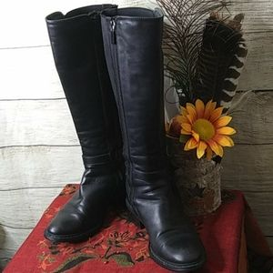inca black leather boots with zippers